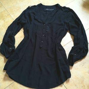 ZARA Black Button Up Blouse
